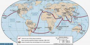 Распространение чумы по миру в 1855–1910 годах.